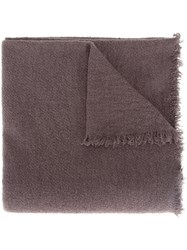 Rick Owens Frayed Knit Scarf Brown