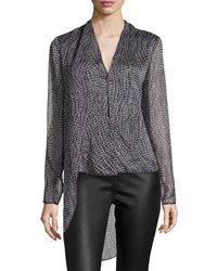 Halston Heritage Long Sleeve Printed Asymmetric Top Gray Wave