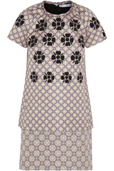 Victoria Beckham Tiered Printed Satin And Jacquard Dress Purple