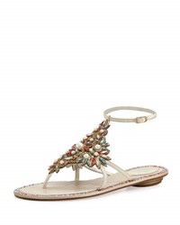 Rene Caovilla Crystal And Pearly Ankle Wrap Thong Sandal White