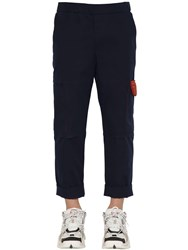 Kenzo Tapered Stretch Cotton Cargo Pants Navy