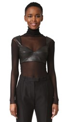 Rubin Singer Faux Leather Bra Top Black