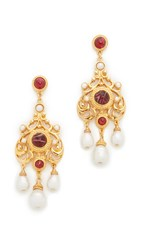 Ben Amun Ruby Lou Earrings Gold Red