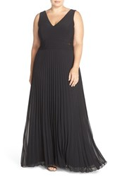 Xscape Evenings Plus Size Women's Jersey And Pleat Chiffon V Neck Gown Black