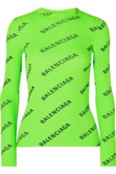 Balenciaga Printed Ribbed Knit Top Green