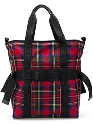 Versace Checked Tote Bag Red