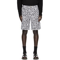 Noon Goons White And Black Denim Leopard Shorts