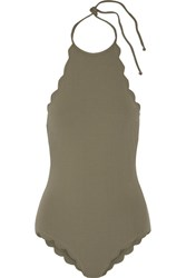 Marysia Mott Scalloped Halterneck Swimsuit Army Green
