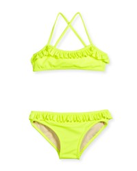 Milly Minis Italian Solid Cross Back Ruffle Bikini Fluo Yellow