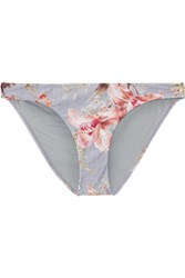 Zimmermann Mercer Printed Stretch Jersey Bikini Briefs Sky Blue