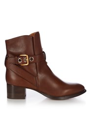 Chloe Max Leather Ankle Boots Brown