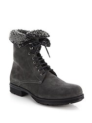 Aquatalia By Marvin K Hayden Shearling Lined Suede Lace Up Boots Dark Grey