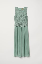 Handm Pleated Lace Dress Green