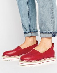Love Moschino Stamped Logo Espadrilles Red
