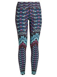 Mara Hoffman Rug Print Performance Leggings Blue Multi