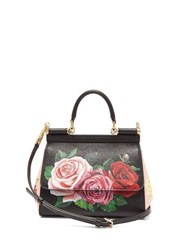 Dolce And Gabbana Sicily Small Rose Print Dauphine Leather Bag Black Multi