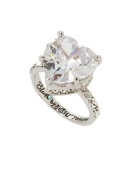 Betsey Johnson Heart Stone Ring Silver