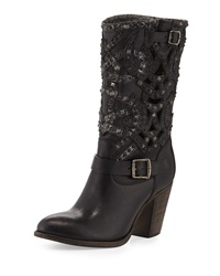 Ilana Studded Laser Cut Leather Boot Black Frye