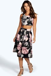 Boohoo Floral Box Pleat Midi Skirt Co Ord Set Multi