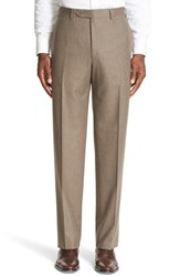 Canali Men's Flat Front Solid Wool Trousers Tan