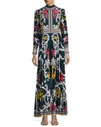 Mary Katrantzou Long Sleeve Scroll Print Maxi Dress Blue Pattern