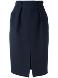 Alexander Mcqueen Gathered Pencil Skirt Blue