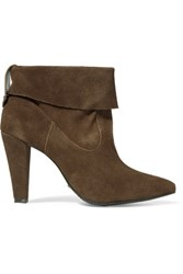 Schutz Dalya Fold Over Suede Ankle Boots Brown