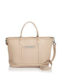 Longchamp Le Foulonne Zip Top Leather Tote Ivory Silver