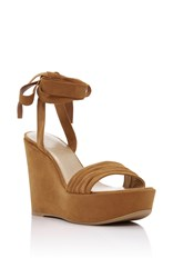 Stuart Weitzman Swifty Wedge Sandals Tan
