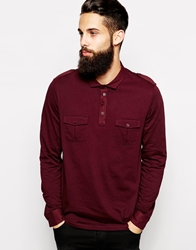 Asos Long Sleeve Polo Shirt With Pockets And Epaulettes Oxblood