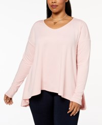 Say What Trendy Plus Size Long Sleeve Swing Top Pale Mauve