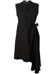 Brunello Cucinelli Asymmetric Wrap Dress Black