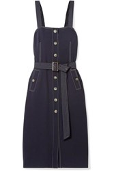 Veronica Beard Adora Belted Crepe Midi Dress Navy