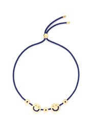 Ruifier 'Happy2 Hearts' 18K Yellow Gold Charm Cord Bracelet Blue Metallic
