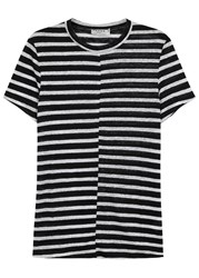 Frame Denim Monochrome Striped Linen T Shirt Black And White