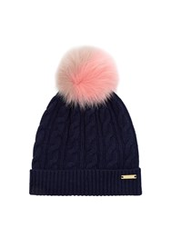 Burberry Fur Pompom Wool And Cashmere Blend Hat Navy Multi