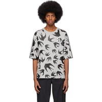 Mcq By Alexander Mcqueen Grey Racer Swallow T Shirt