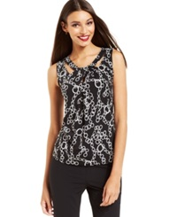 Nine West Sleeveless Cutout Chain Print Top Black White