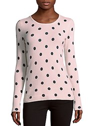 Cashmere Saks Fifth Avenue Polka Dot Sweater Pale Pink