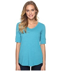 Royal Robbins Merinolux V Neck Tee Reservoir Women's T Shirt Blue