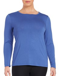 Lord And Taylor Plus Plus Solid Long Sleeve Tee Azure Blue