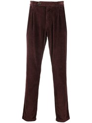 Eleventy Corduroy Straight Leg Trousers Red