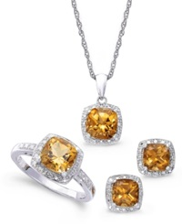 Macy's Sterling Silver Jewelry Set Citrine 4 3 4 Ct. T.W. And Diamond Accent Necklace Earrings And Ring Set