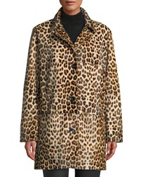 Nour Hammour Ines Two Button Leopard Print Fur Coat