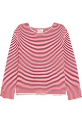 Frame Le Knit Crew Striped Cotton Sweater Red