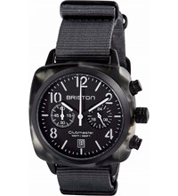 Briston 15140.Pbam.Gt.3.Ng Clubmaster Classic Acetate And Canvas Chronograph Watch Black