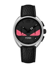 Fendi Momento Bugs Eyes Black Leather Watch