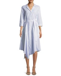 Lafayette 148 New York Casimir Dominique Striped Dress Periwinkle Multi