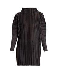 Issey Miyake High Neck Pleated Dress Dark Grey