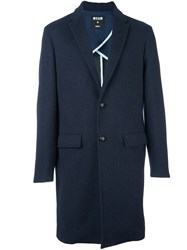 Msgm Flap Pockets Mid Length Coat Blue